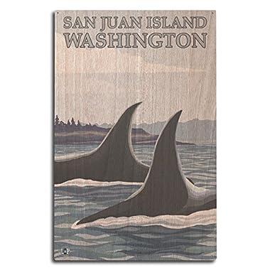 San Juan Island, Washington - Orca Whales #1 (10x15 Wood Wall Sign, Wall Decor Ready to Hang)