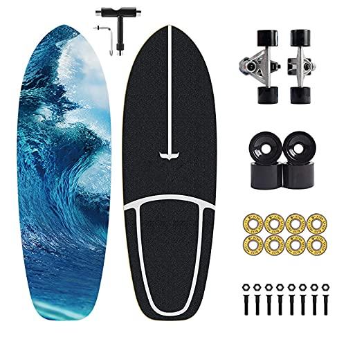 Patines de surf, monopatín de surf, CX7, monopatín de bombeo, rodamientos ABEC-11, 75 × 24 cm, apto para niños, adolescentes, jóvenes y adultos, con T-Tool