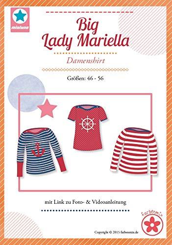 Big Lady Mariella Farbenmix Schnittmuster (Papierschnittmuster für die Größen 44-56) Damenshirt