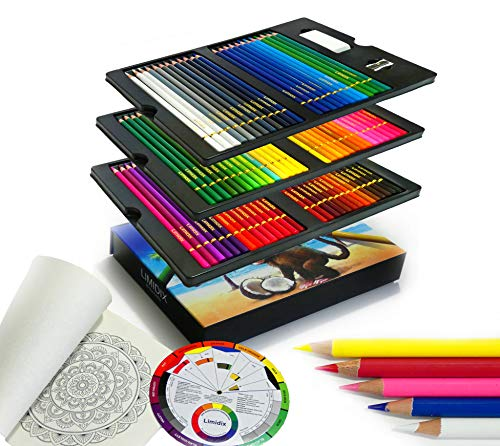 Limidix 80 Buntstifte Set für Künstler inkl. Malbuch & Farbmischkreis (perfekt für das Mischen und Schattieren)