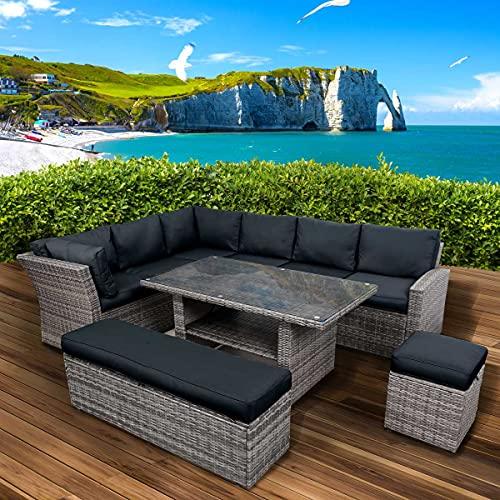 BRAST Poly-Rattan Gartenmöbel Essgruppe Lounge Set Sitzgruppe Outdoor Möbel Garten Garnitur Sofa Holidays Grau/Anthrazit