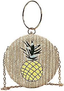 TOOGOO Women Beach Round Pineapple Woven Bag Straw One Shoulder Portable Messenger Crossbody Bags Khaki