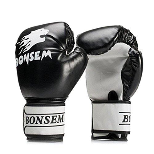 Wovemster Box Handschuhe Boxsack Sparring Training Grappling Leder Gloves for Erwachsene Frauen/Männer(Black)