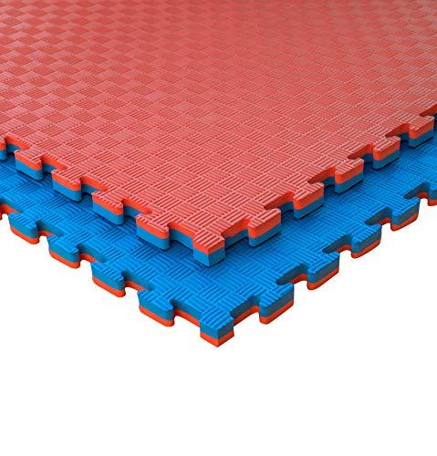 JOWY Lote 4 Unidades Esterilla Goma Espuma Tatami Puzzle | Suelo para Gimnasio Ideal Artes Marciales 1m x 1m x 2 cm Rojo/Azul en Acabado de 5 líneas
