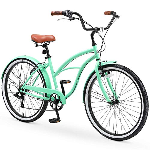 """sixthreezero Around The Block Casual Edition Women's 7-Speed Beach Cruiser Bike, 26"""" Bicycle, Mint Green with Brown Seat and Brown Grips"""