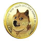 flouris Monedas Dogecoin De Oro - 2021 Monedas Conmemorativas Dogcoins Chapados En Oro Moneda Coleccionable con Estuche Protector, Cryptocurrency Virtual para Colección De Monedas Regalo, 1 / 2pcs
