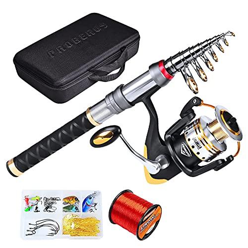 WEIXINMWP Carbón Telescópico Caña de Pescar Combo Spinning Reel Juego de Pesca Travel Travel Stick Bass Bass Pike Alimentador Rod Kit Completo,2.7m