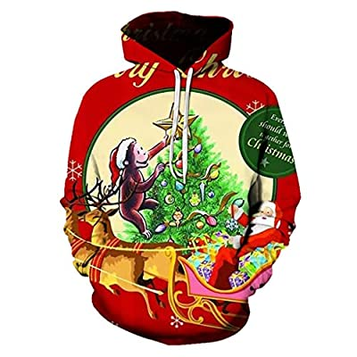 Aunimeifly Couple's Plus Size Hoodie Christmas 3D Printing Sweatershirt Unisex Pocket Long Sleeve Hooded Tops(2XL,Red)