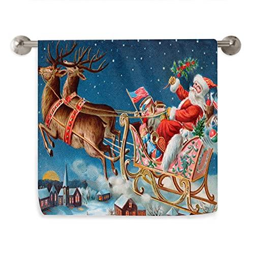 VunKo Toalla de cocina de Papá Noel de Nochebuena, suave, muy absorbente, para el hogar, decoración multiusos para baño, hotel, gimnasio y spa, 15.7 x 27.5 pulgadas