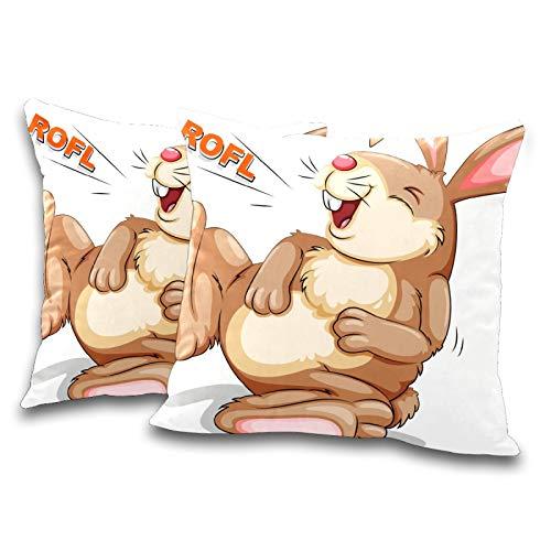 DXG1 Juego de 2 fundas de almohada de 45 x 45 cm, diseño de conejo, color blanco
