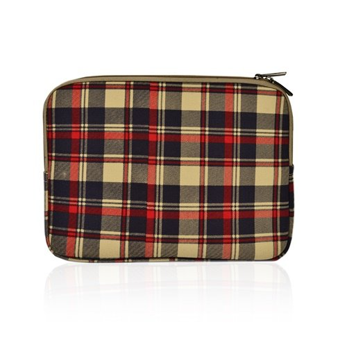 TOP CASE - Royal Blue Plaid Canvas Fabric Laptop Sleeve Bag Case Cover Compatible with Most 13-Inch Laptop/Apple MacBook White/Pro/Air 13'/ Ultrabook with TOP CASE Mouse Pad