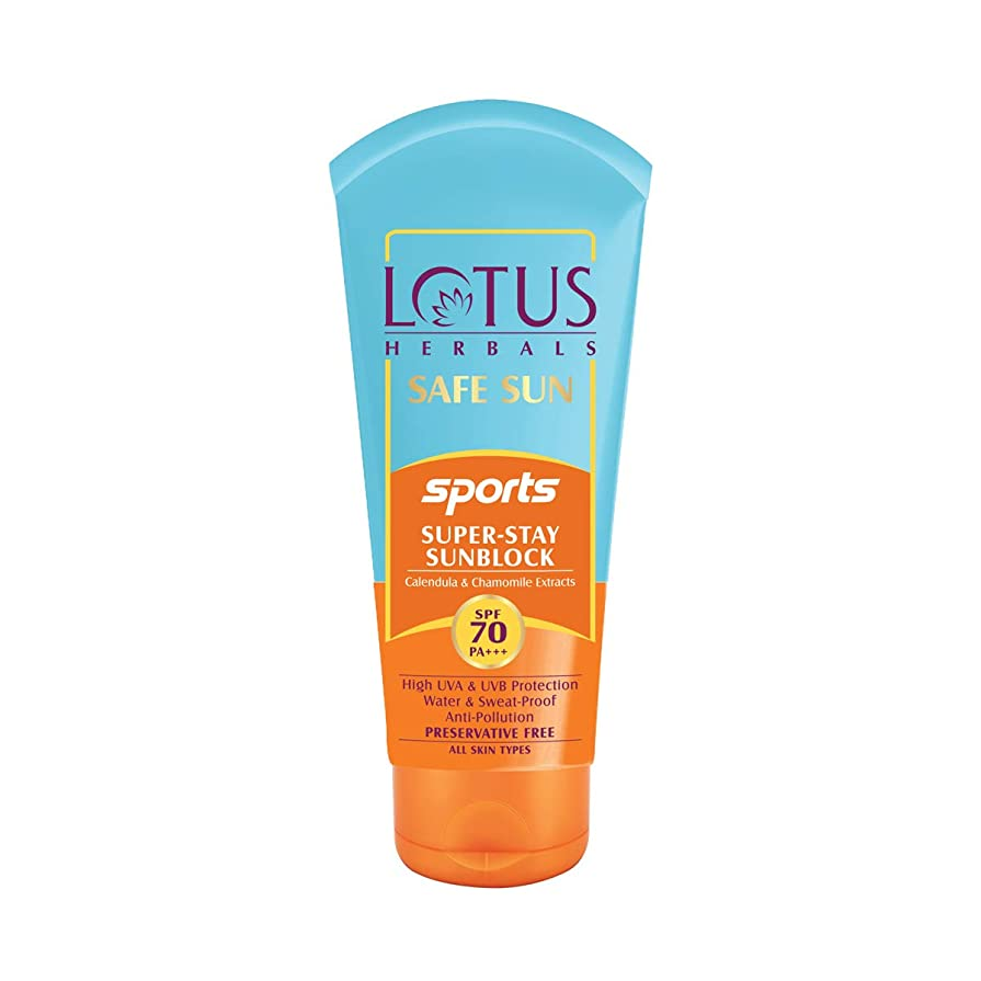 適合する分離役に立つLotus Herbals Safe Sun Sports Super-Stay Sunblock Spf 70 Pa+++, 80 g (Calendula and chamomile extracts)