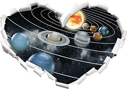 Système Solaire avec Forme de Coeur de planète dans Le Regard 3D, Mur ou Un Autocollant de Porte Format: 92x64.5cm, Stickers muraux, Stickers muraux, Wanddekoratio