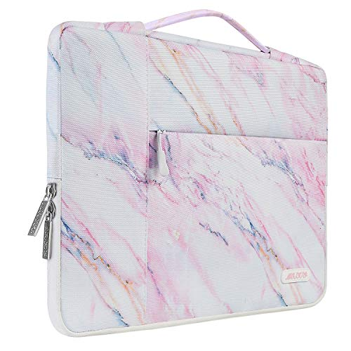 MOSISO Laptop Briefcase Compatible with 13-13.3 Inch Laptop, Notebook, MacBook Air/Pro, Polyester Multifunctional Sleeve Handbag Carrying Case Bag, Pink Marble