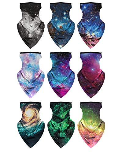 Multi-Pack Bandana with Ear Loops Neck Gaiter Face Cover for Men Women and Kids (Galaxy Series, 9)