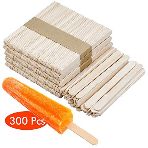 WEKON 300 Stück Holzstäbchen, 114 x 10 x 2 mm, Holzeisstiele zum basteln, holzstäb, Holzstiele, Eisstiele aus Holz, Holzspatel Stiele