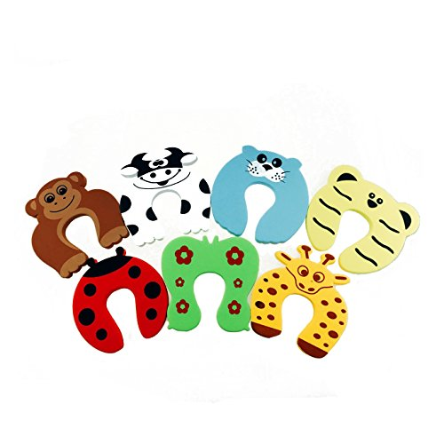 Acmer Children Safety No Finger Pinch Foam Door Stopper. Colorful Cartoon Animal Cushion - Ramdom Bundled Baby Child Kid Cushiony Finger Hand Safety, Curve Shaped Door Stop Guard 7 PCS Set