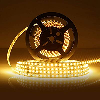 LEDMO LED Strip Light Non-Waterproof SMD2835 600LEDs 3000K 16.4Ft DC12V 15LM/LED 3 Times Brightness Than SMD 3528 LED Light Strip LED Ribbon for Kicthen Bedroom and Sitting Room Warm White