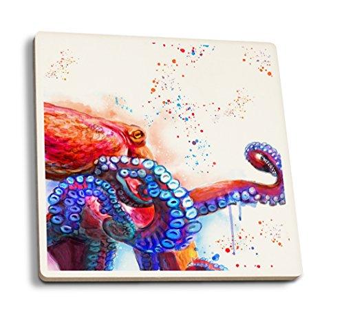 Lantern Press Octopus - Watercolor (Set of 4 Ceramic Coasters - Cork-Backed, Absorbent)