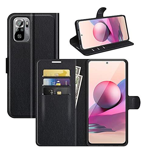 JARNING Cuero Funda Compatible con Xiaomi Redmi Note 10 4G/Redmi Note 10S,Cuero Fundas Flip Leather Wallet Case Carcasa con Ranura de Tarjeta Cierre Magnético Kikstand (Negro)