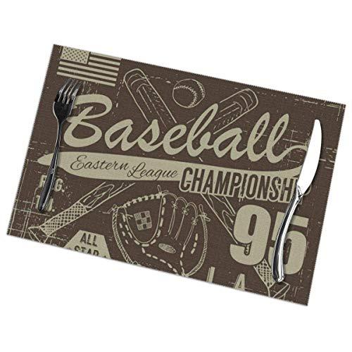 Béisbol Deporte Tipografía Liga oriental Los exquisitos manteles individuales Resistente al calor Antideslizante Fácil de limpiar Manteles para comer
