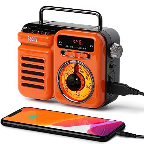 Raddy RW3 Kurbelradio Tragbares Notfall AM/FM Solar Radio mit Wiederaufladbare 3000mAh Batterie Powerbank, LED Camping Licht, SOS Alarm für Outdoor, USB/TF/Aux Bluetooth-Lautsprecher Dynamo Radio