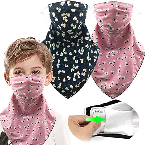 4 Pack Kids Face Scarf Reusable Face Cover Mask for Girls Boys with Filter Pocket Bandana Neck Gaiter - Ear Loops & Snap