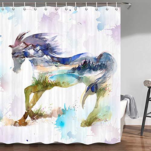 Duschvorhang mit Pferde-Motiv, Western-Land, einzigartiger Aquarellfarben-Malerei, Tiere, Pferd, Badezimmer-Set Duschvorhang, Stoff-Duschvorhanghaken, 177,8 cm