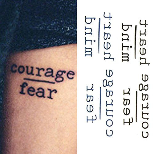 Oottati Small Spring new work one after another Cute half Temporary Tattoo Hea Fear Quote Words Courage