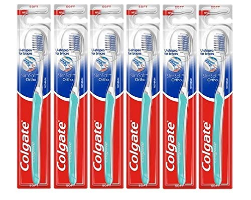 Colgate Slim Soft Ortho Toothbrush, Soft, Compact Head - Pack of 6