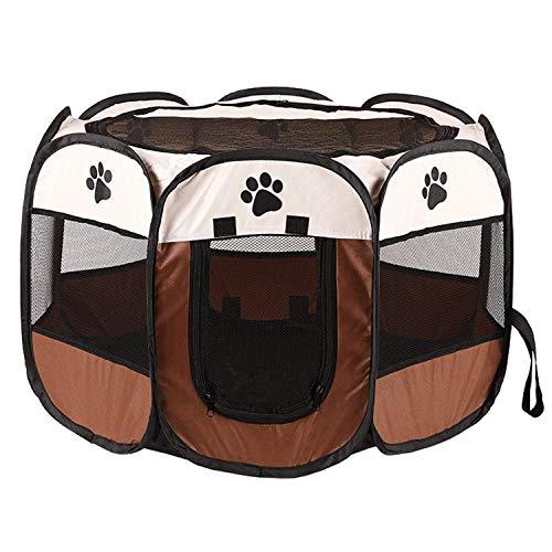 Tiandirenhe Recinto Plegable para Mascotas,Parque de Juegos Portátil para Mascotas, para Animales Pequeños, Parque de Juegos Octogonal Tienda de Campaña de Tela para Cachorros, Gatos, Conejos