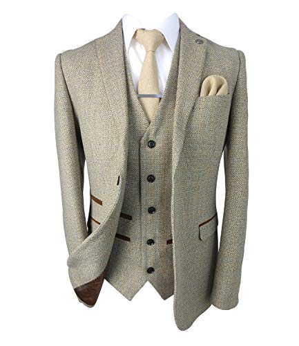 SIRRI Paul Andrew Herren-Anzug aus Tweed Gr. 54 DE Regulär Jacke, 38 DE Regulär Schlauch, beige