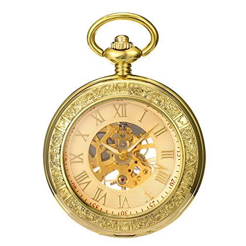 Morfong Zakhorloge voor heren en dames, met ketting, goud, antiek, mechanisch skelet