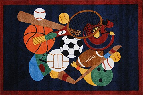 Home Must Haves Navy Blue Soccer Baseball Hockey Basketball Bowling Tennis Sports For Girls Boys Kids Children Area Rug Ideal For Playroom Daycare Kindergarten Safe (51