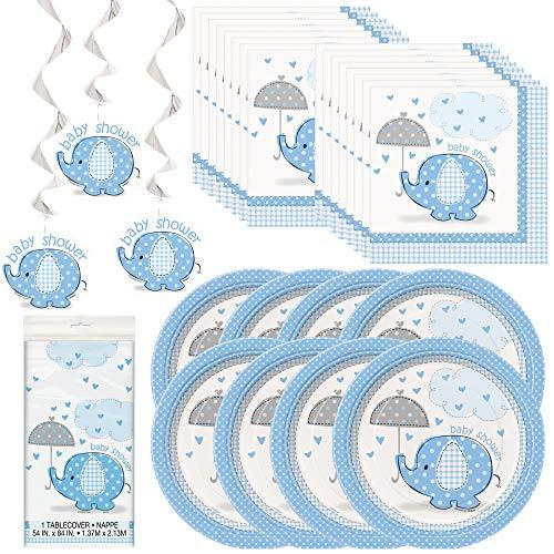 Único paquete de fiesta azul de Umbrellaphants   Servilletas de almuerzo y bebidas, platos de cena y postre, cubierta de mesa, remolinos colgantes   ideal para baby boy duchas