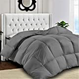 Premium Quality Down Alternative Quilted Comforter with Corner Tabs- Duvet Insert - King Size Comforter -Hypoallergenic -Plush Microfiber Fill - Machine Washable - (King Size, Grey/Gray)