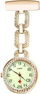 CestMall Nurse Watch Paramedic Doctor Pocket Watches Luminous Quartz Hanging Lapel Pin Clip on Hanging Medical Brooch Fob Watch
