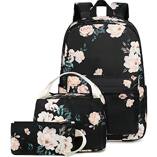 BLUBOON School Backpack Set Teen Girls Bookbags 15 inches Laptop Backpack Kids Lunch Tote Bag Clutch Purse (E0066 Black)
