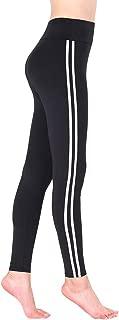 Women's Contrast Stripe Stretch Skinny Athletic Sports Leggings Pants