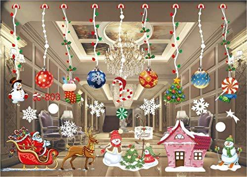 Sinwind raamfoto's Kerstmis zelfklevend, winterdecoratie kerstdecoratie, kerstmis raamsticker, raamsticker PVC raamfoto's Kerstmis raamdecoratie zelfklevend raamfolie kerstmis Kerstmis 3
