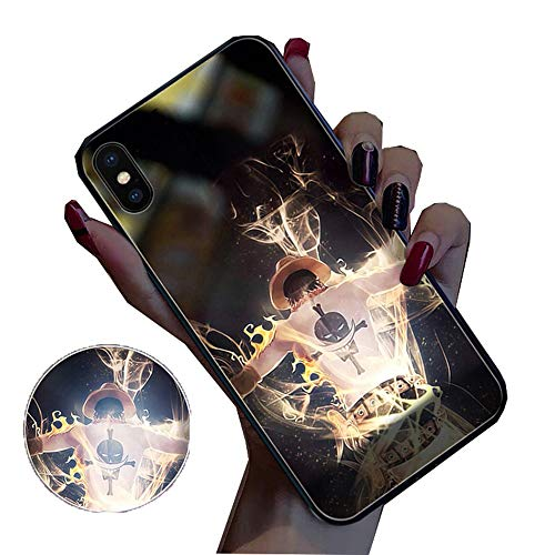 YFWJD Fluorescent Case for iPhone X XS Luminous Glow Hard Tempered Glass Back Cover Soft Shockproof Protective TPU Bumper Case for iPhone 6/7/8/11 PRO MAX,#4,iPhone 6sp/6plus