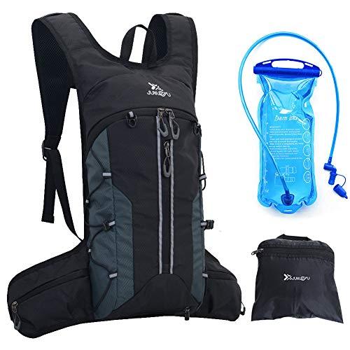Trinkrucksack mit 2L BPA-free Trinkblase,ultraleichter Fahrradrucksack,Aufbewahrungstasche,Helmnetz,verstellbarer Hüft&Schultergurt,perfekte Radrucksack zum Laufen Wandern Radfahren Langlaufen