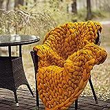 LaoJee Chunky Knit Blanket Merino Wool Blend Handmade Soft Bulky Throw Sofa Chair Home Decor Giant Yarn,Yellow,40'x60'