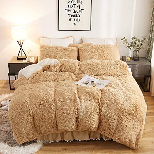 CRESTED Plush Shaggy Duvet Cover Set Ultra Soft Artificial Berber Fleece Bedding Sets 3 Pieces (1 Faux Fur Duvet Cover + 2 Faux Fur Pillowcase) Double Zipper Closure (Queen, Camel)