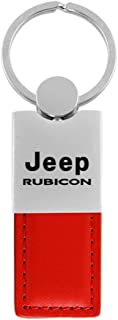 Au-Tomotive Gold, INC. Jeep Wrangler Rubicon Red Leather Car Fob Key Chain Ring