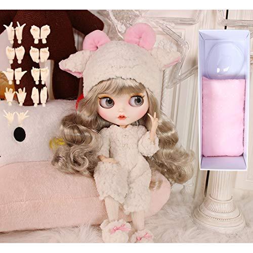 HYZM Doll 1/6, 19 Joints Blythe Puppe Body + Make-up Gesicht + Vollständige Kleidung + 4 Farben Augen + 9 Paar Hände, Gold Silber lockiges Haar