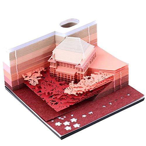 清水寺Kiyomizu Temple 3D紙建築シーン模型組立 付箋紙のメモクリエイティブ DIYの紙の家の芸術のビルディングブロック 便利なステッカーのペーパーカードのクラフト きよみずでらMemo 150枚(赤)