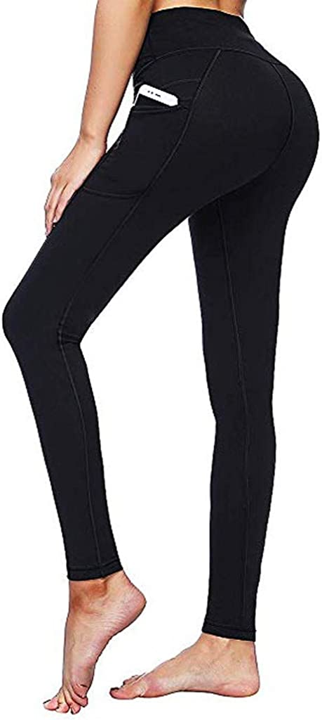 FUNEY Leggings with Pockets for Women High Waisted Yoga Pants with Tummy Control Slim Workout Leggings Sport Pants
