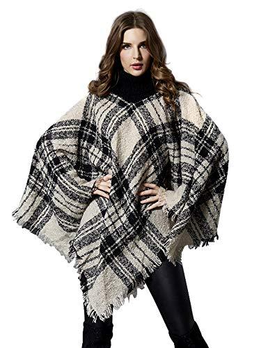 ZHENWEI - Poncho de punto para mujer, elegante, chal de moda, cuello redondo, cálido y elegante, capa de alas de murciélago
