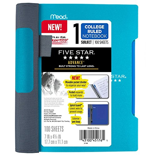 """Five Star Advance Small Spiral Notebook, 1 Subject, College Ruled Paper, 100 Sheets, 7"""" x 4-3/8, Teal (73153)"""